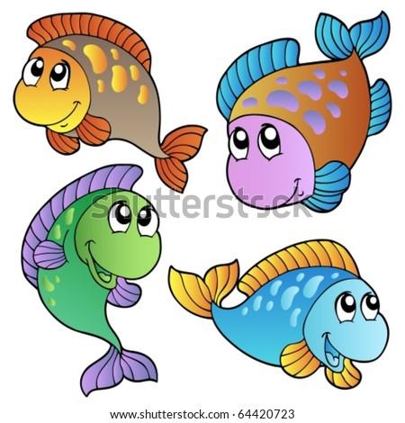 Four cartoon fishes - vector illustration. - stock vector
