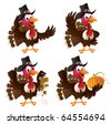 Four cartoon turkeys in a pilgrim outfit. The file is layered for easier editing. Perfect match for the thanksgiving series. - stock photo