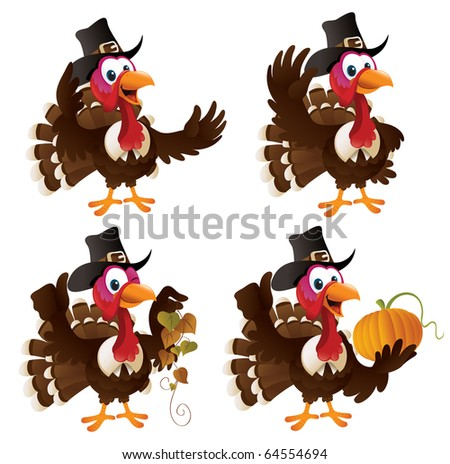 Four cartoon turkeys in a pilgrim outfit. The file is layered for easier editing. Perfect match for the thanksgiving series. - stock vector