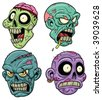 Four cartoon zombie heads. All in separate layers for easy editing. - stock vector