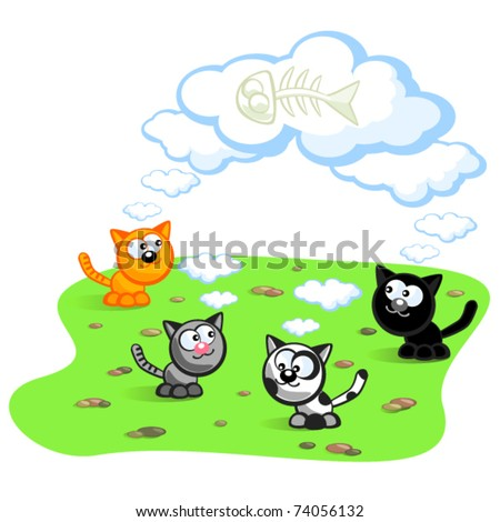 Four cats dream about eating fish bones. Cartoon Vector isolated scene.