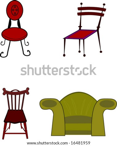 Four chairs as a vector - stock vector
