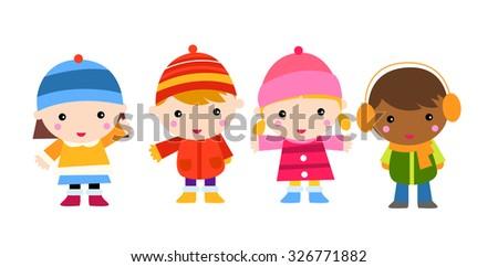 Four children - stock vector