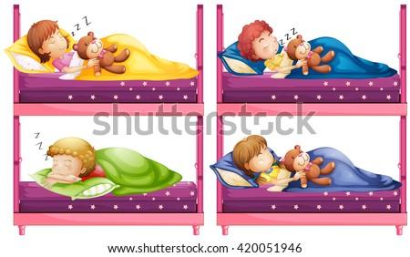 Four children sleeping in bunkbed illustration - stock vector