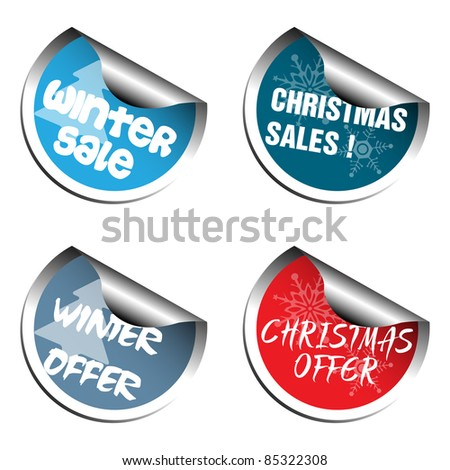 Four Christmas sale stickers isolated on white background