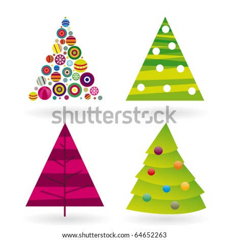 Four Christmas tree in vector and retro illustration - stock vector