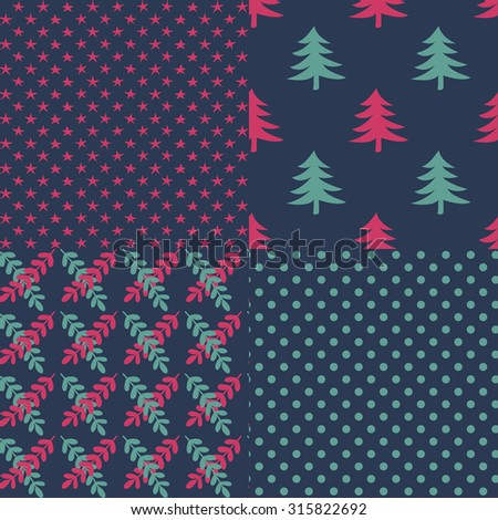 Four christmas vector seamless patterns