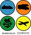 Four circle travel icons - stock vector