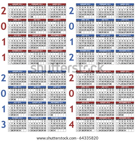 Four classic calendar templates for years 2011 - 2014, easy editable, weeks start on Sunday - stock vector