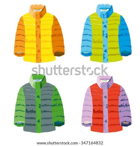 four coat models - stock vector