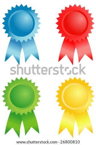 Four color badges. A vector illustration.