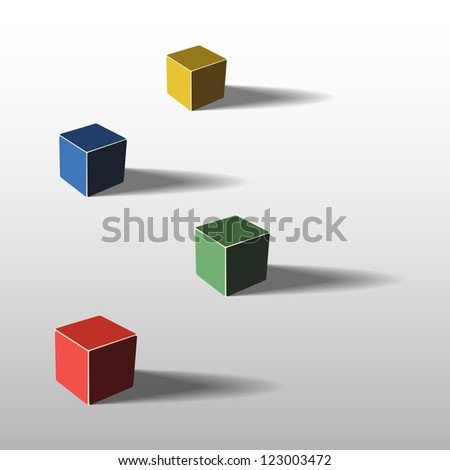 Four color cubes, 3d illustration, with shadows - stock vector