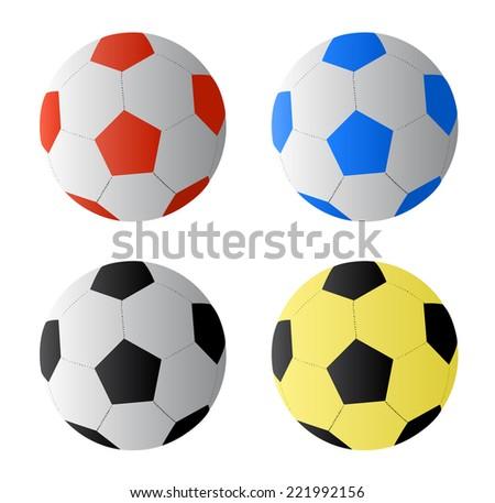 Four color football or soccer  balls, vector  - stock vector