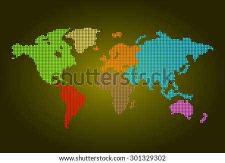 four color map of the world pixel background. vector illustration. dot. table. square. Mosaic. infographics. background for computer graphic website internet and technology. dark yellow background. - stock vector