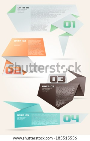 Four Color Origami Style Options Banner - stock vector