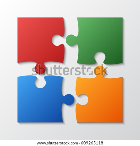 Four Color Piece Jigsaw Puzzle Round Infographic Presentation 4 Step Business Diagram Section