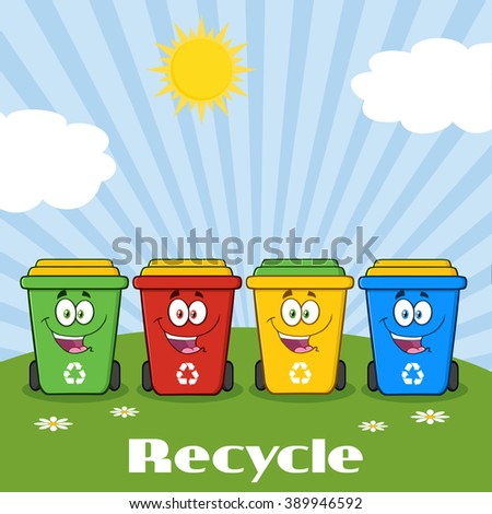 Four Color Recycle Bins Cartoon Character On A Sunny Hill With Text Recycle. Vector Illustration Isolated On White Background - stock vector