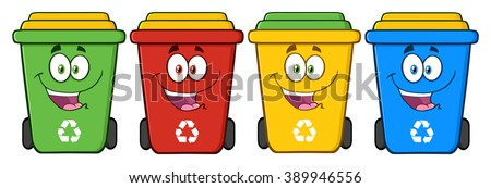 Four Color Recycle Bins Cartoon Character. Vector Illustration Isolated On White Background - stock vector