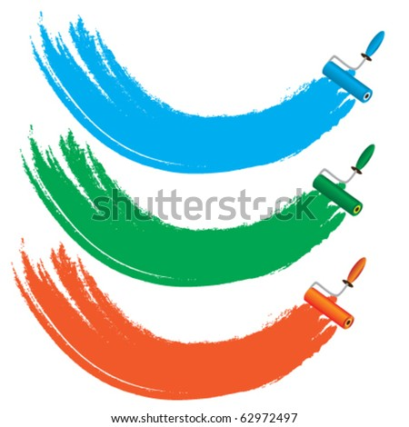 Four color roller brushes - stock vector