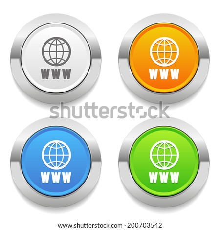Four color round button with internet icon and metallic border - stock vector