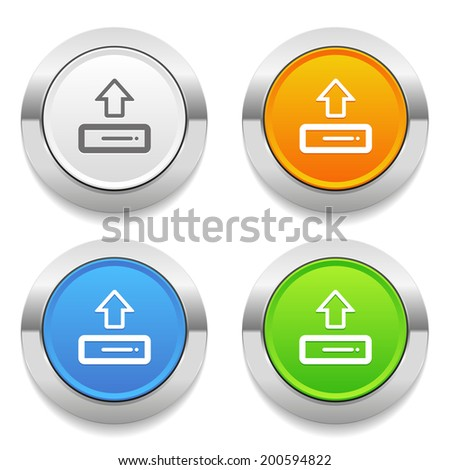 Four color round button with upload icon and metallic border - stock vector