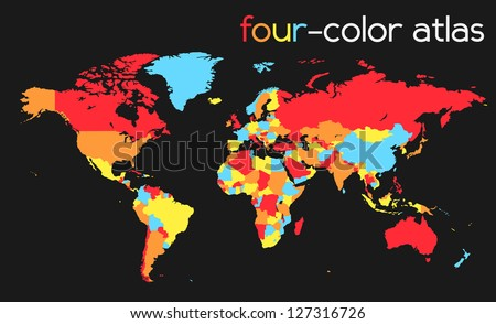 Four-Color World Map / Atlas | EPS 10 Vector - stock vector