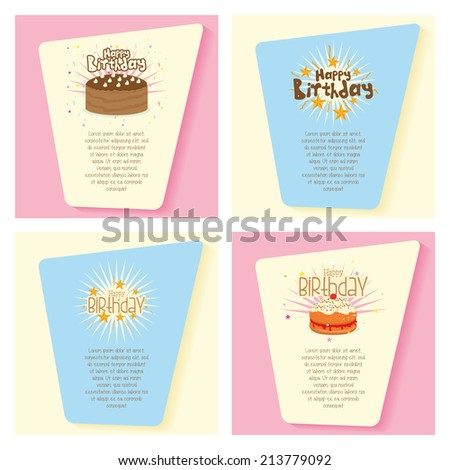 four colored backgrounds with cards, text and other objects for birthday - stock vector