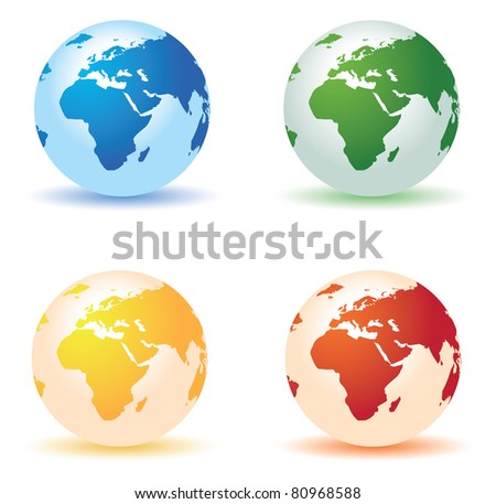 four colored globes - stock vector