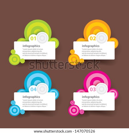 Four colored modern paper circles design template / can be used for infographics / numbered banners - stock vector