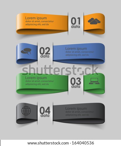 Four colored ribbons with data / vector template for infographics or presentations - stock vector