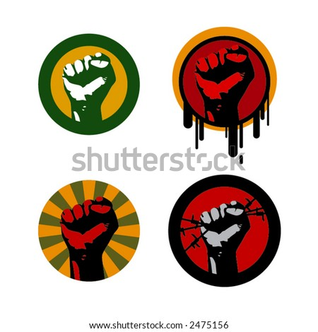 four colored vector illustrations with a fist - stock vector