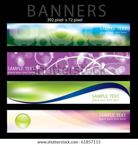 Four colorful banner in editable vector format - stock vector