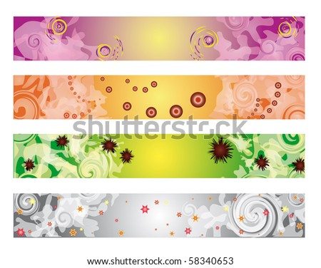 Four colorful banners