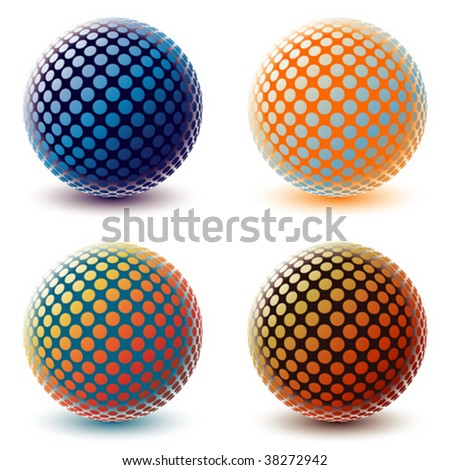 Four colorful digital globes. - stock vector