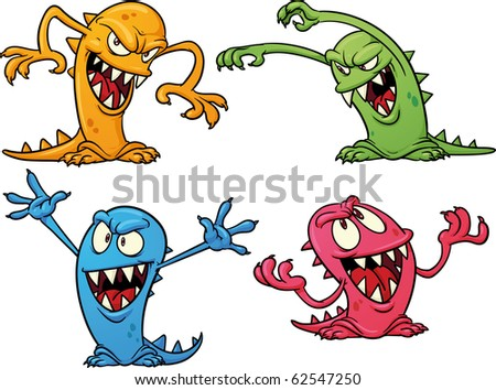 Four colorful Halloween monsters. Vector illustration with simple gradients. All in separate layers for easy editing. - stock vector
