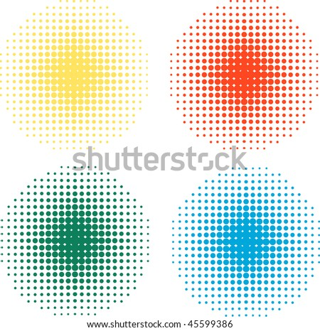 four colorful round halftones, vector - stock vector