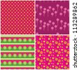 Four colorful seamless patterns with fabric texture./ Patchwork - stock vector