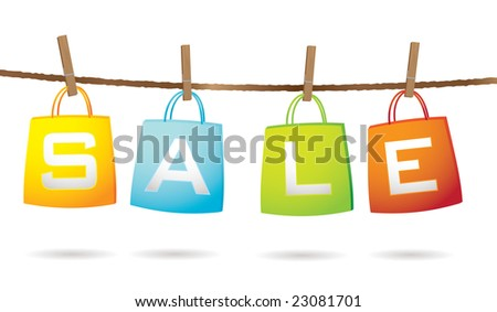 Four colorful shopping bags hanging on a washing line with sale text - stock vector