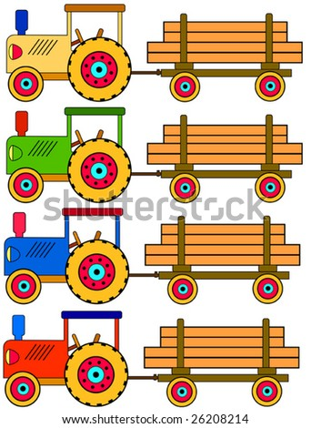 Four colorful toy tractors with a trailer - stock vector
