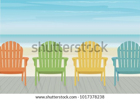 Adirondack Chairs On Beach. Four Colorful Wooden Adirondack Chairs In A Row  On Deck At