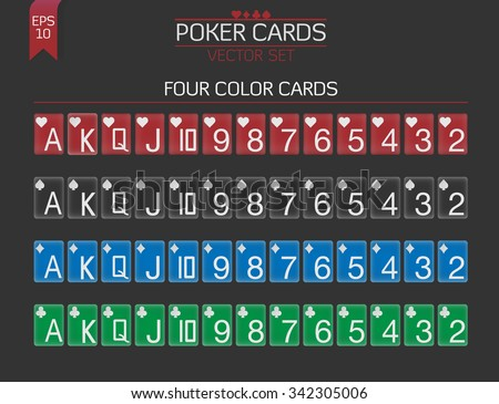 Four colors Poker cards vector set for poker client with huge index and white suit - stock vector