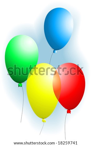 four, colourful balloons