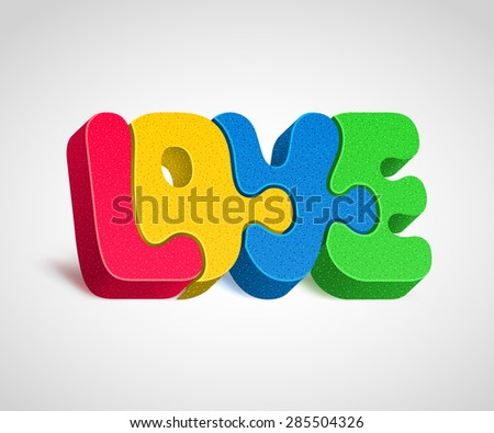 """Four combined together multicolor puzzle-letters form a word """"LOVE"""". Harmony in love concept - stock vector"""