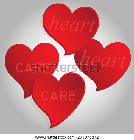 "Four concave and convex red hearts with the words ""heart"" and ""care"". Isolated. Vector Illustration."