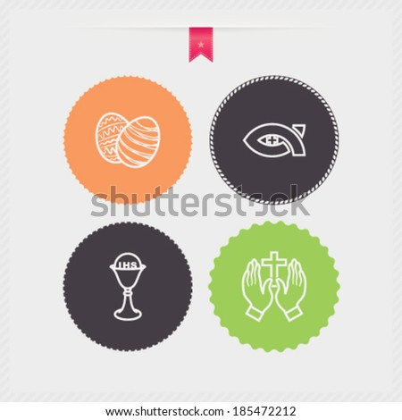 Four concept icons: spring, from left to right, top to bottom - Easter eggs, Symbol of Christianity, Chalice, Praying hands.  - stock vector