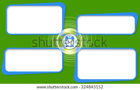 Four connected frames for your text and alarm clock - stock vector
