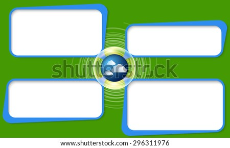 Four connected frames for your text and forecast symbol - stock vector