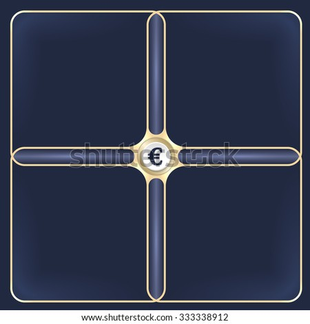 Four connected golden frames for your white text and euro symbol - stock vector