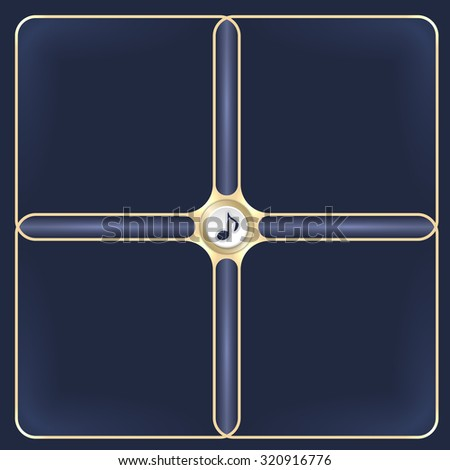 Four connected golden frames for your white text and music symbol - stock vector