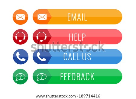 four contact buttons in flat style isolated on white background, vector illustration, eps 10, with transparency - stock vector